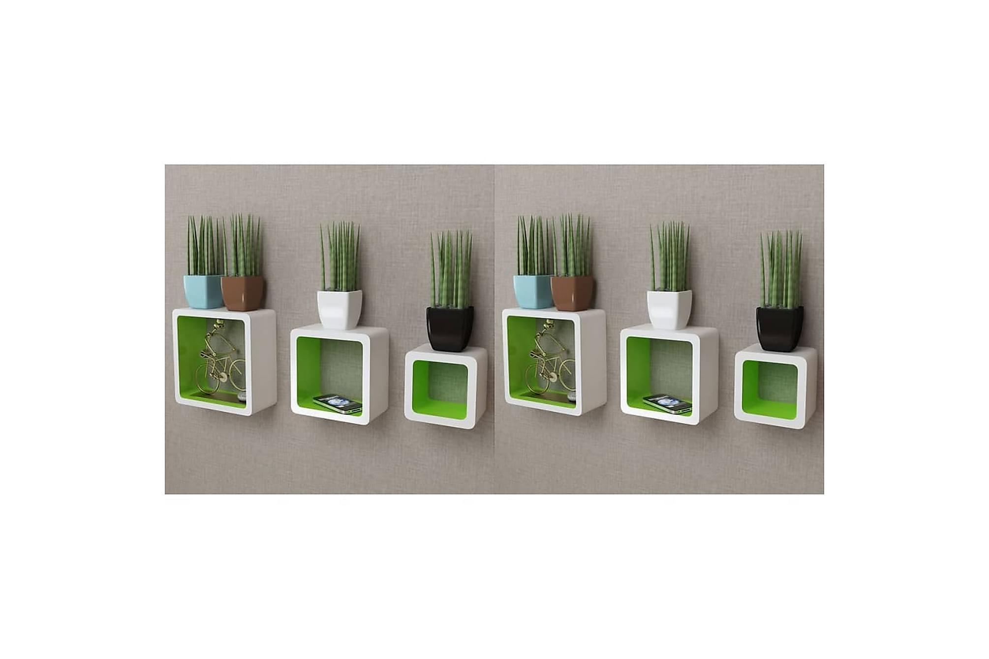 Vägghyllor kub 6 st vit & grön