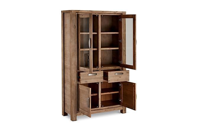 ALPI Vitrinskåp 115 2 Glasdörrar Akacia/Brun - Möbler & Inredning - Förvaring - Vitrinskåp