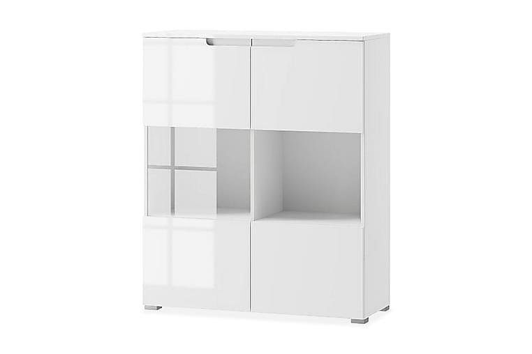 AYLIN Vitrinskåp 100 2 Dörrar Vit/Vit Högglans - Möbler & Inredning - Förvaring - Vitrinskåp