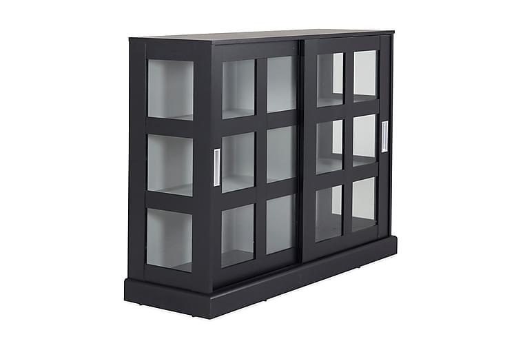 LILLIANA Glasskåp 120 cm Svart/Ljusgrå - Möbler & Inredning - Förvaring - Vitrinskåp