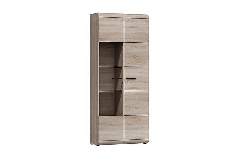 Link Vitrinskåp 80x37x194 cm - Beige/Grå - Möbler & Inredning - Förvaring - Vitrinskåp