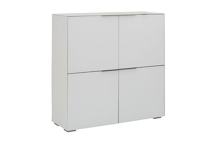 BINSFELD Skåp 112 cm 4 Dörrar Vit Matt Glas - Möbler & Inredning - Förvaring - Skåp