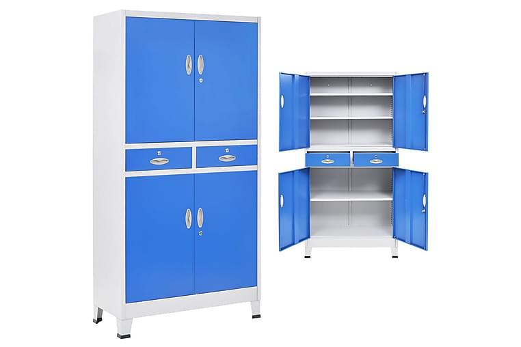 Dokumentskåp med 4 dörrar metall 90x40x180 cm grå och blå - Blå - Förvaring - Skåp