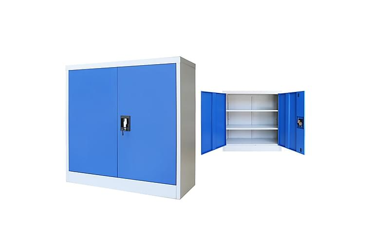 Kontorsskåp metall 90x40x90 cm grå och blå - Blå - Möbler & Inredning - Förvaring - Skåp