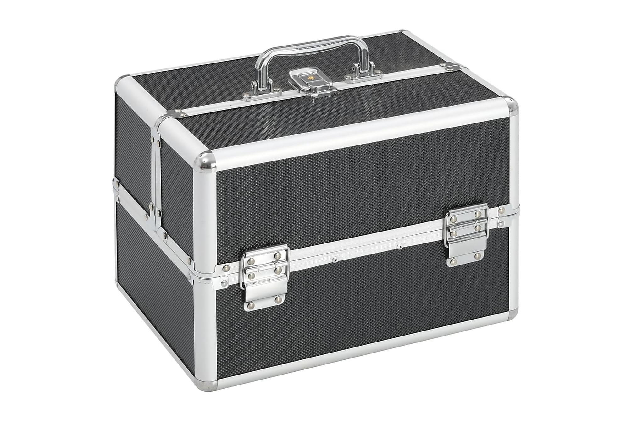 Sminklåda 22x30x21 cm svart aluminium