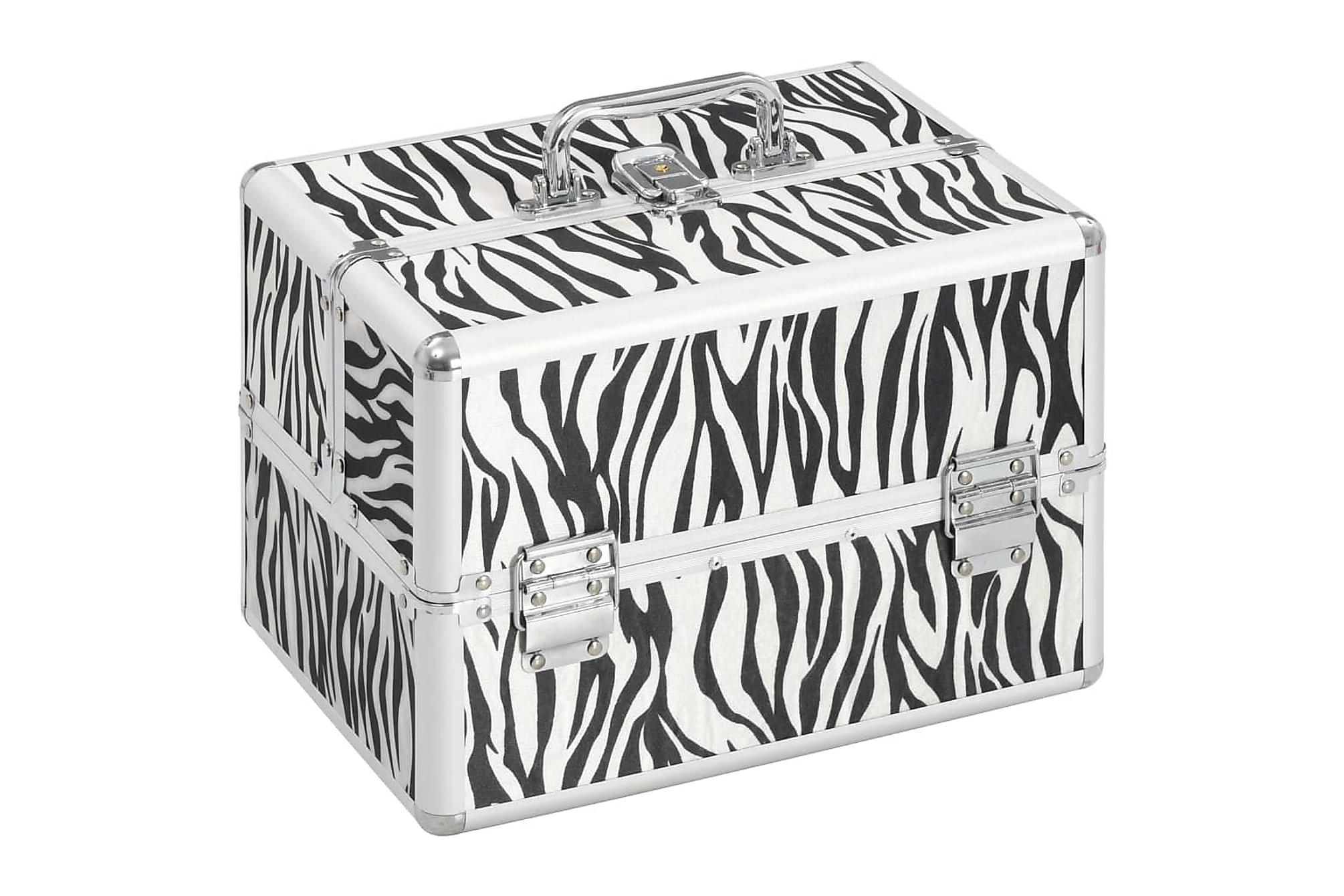 Sminklåda 22x30x21 cm zebraränder aluminium