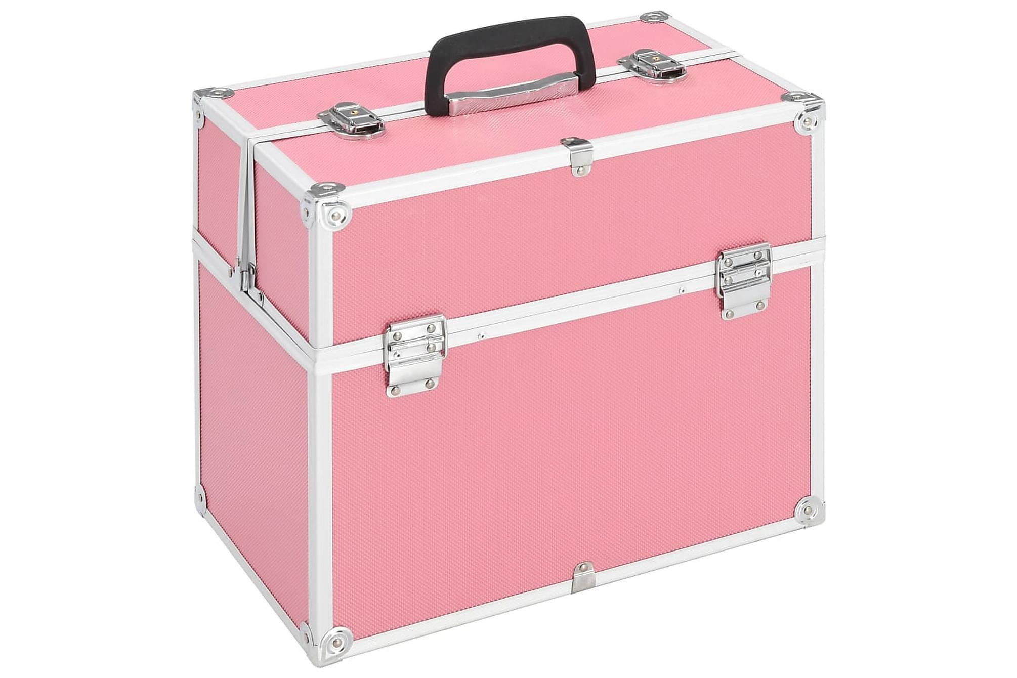 Sminklåda 37x24x35 cm rosa aluminium