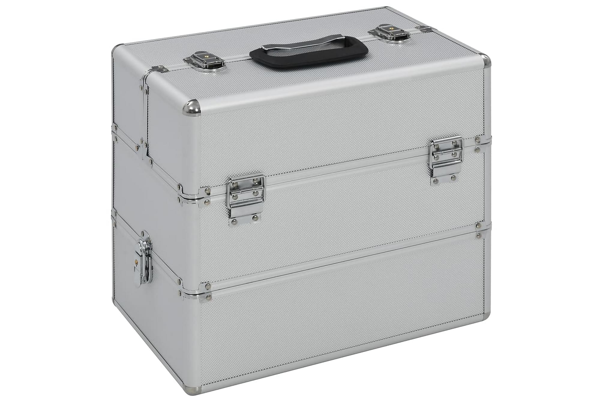Sminklåda 37x24x35 cm silver aluminium