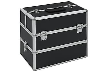 Sminklåda 37x24x35 cm svart aluminium