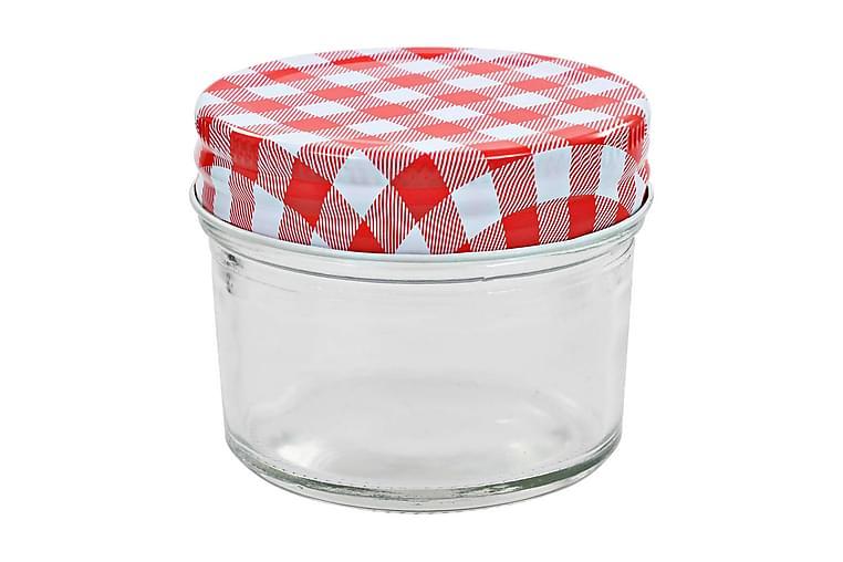 Syltburkar i glas med vita och röda lock 96 st 110 ml - Röd - Möbler & Inredning - Inredning - Småförvaring