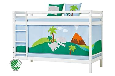 BASIC Våningssäng 90x200 m Draperi Dinosaurie Vit