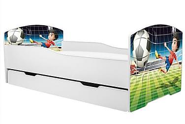MARSIELL Barnsäng Fotbollsmotiv 80x160 med Förvaring Vit