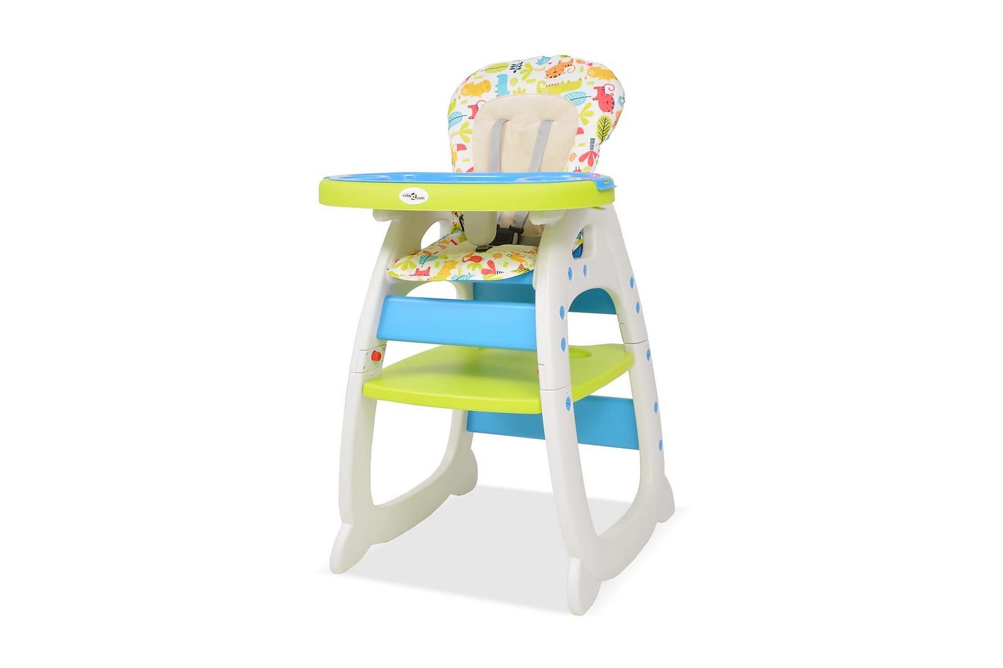 3-i-1 Konvertibel barnstol med bord blå och grön, Barnstolar
