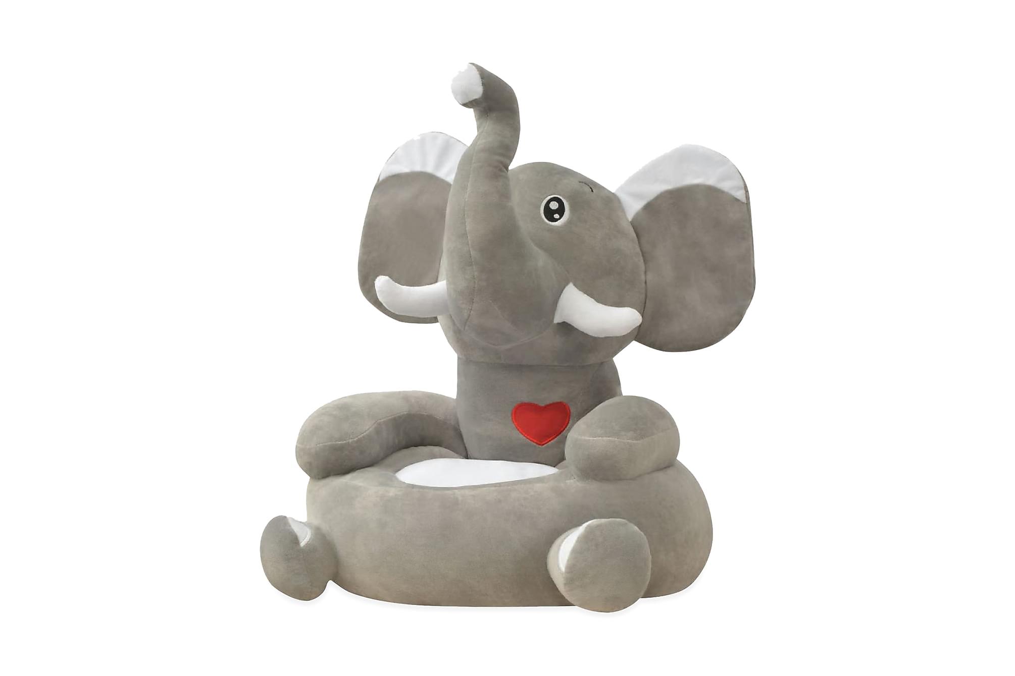 Barnstol i plysch elefant grå, Barnstolar