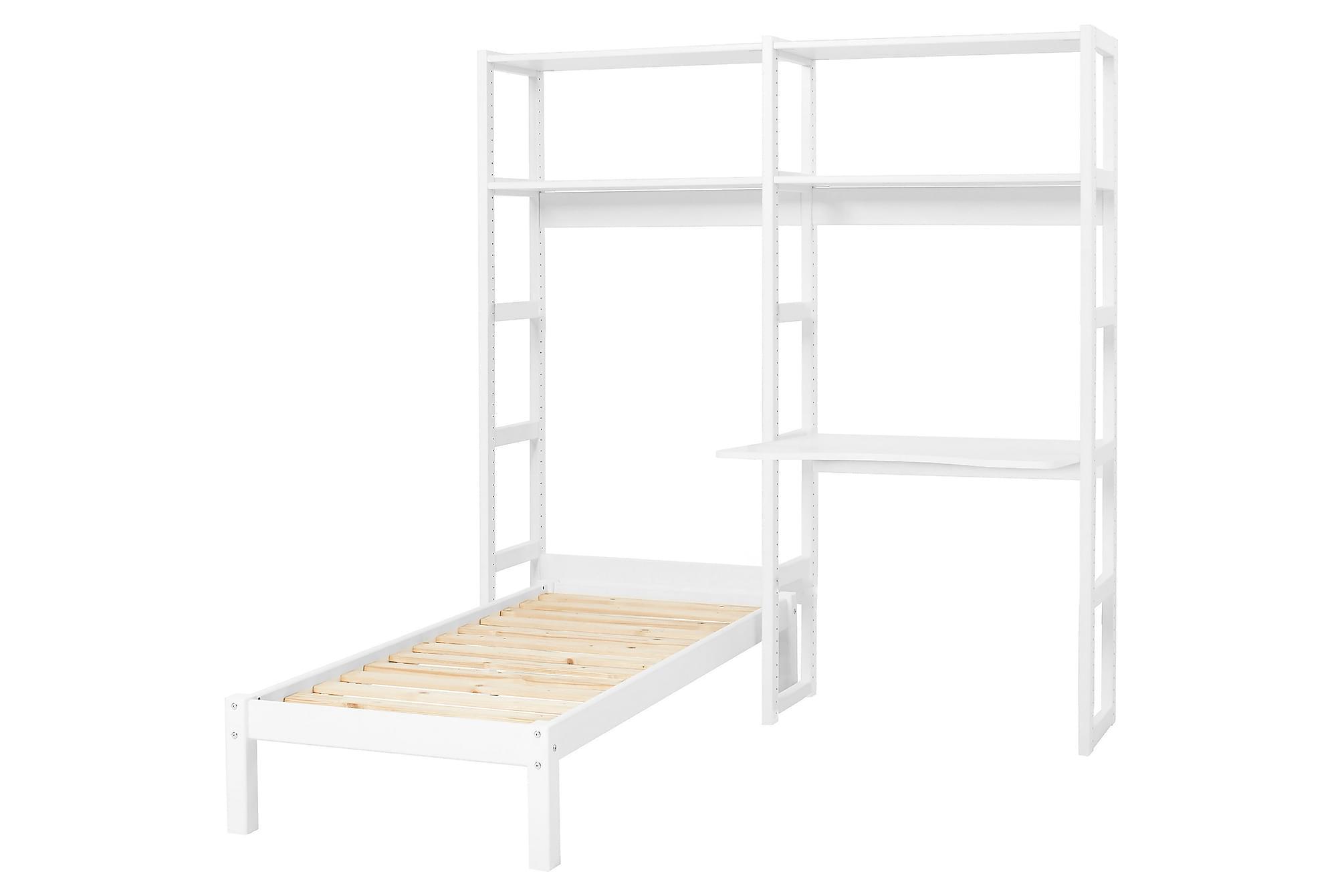 STOREY Säng m Hylla och Arbetsbänk 70×160 Vit