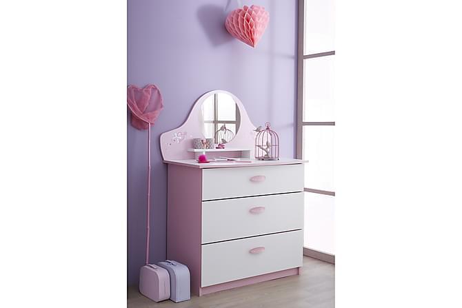 ZEINAB Byrå 3 Lådor + Spegel Vit/Rosa - Möbler & Inredning - Barnmöbler - Förvaring barnrum