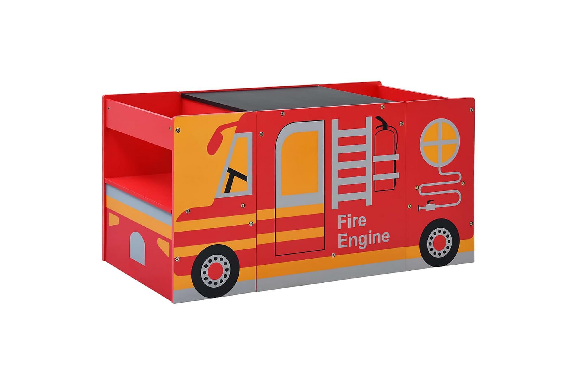 Barnbord och stolar 3 delar brandbil trä
