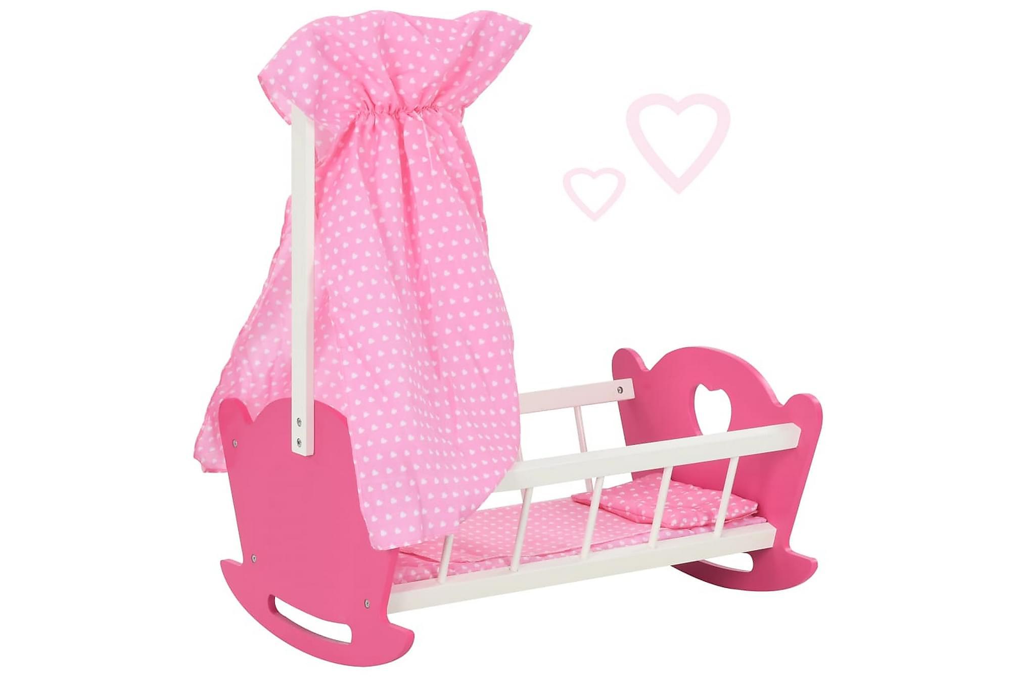 Docksäng med takhimmel MDF 50x34x60 cm rosa, Barnmöbler