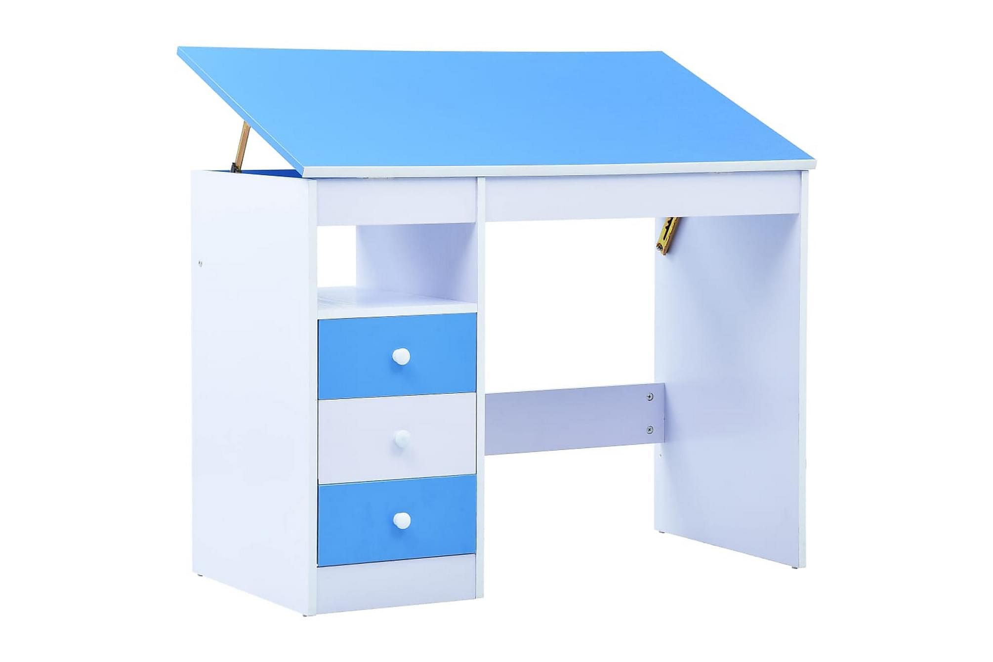 Skrivbord för barn lutbart blå och vit, Barnmöbler