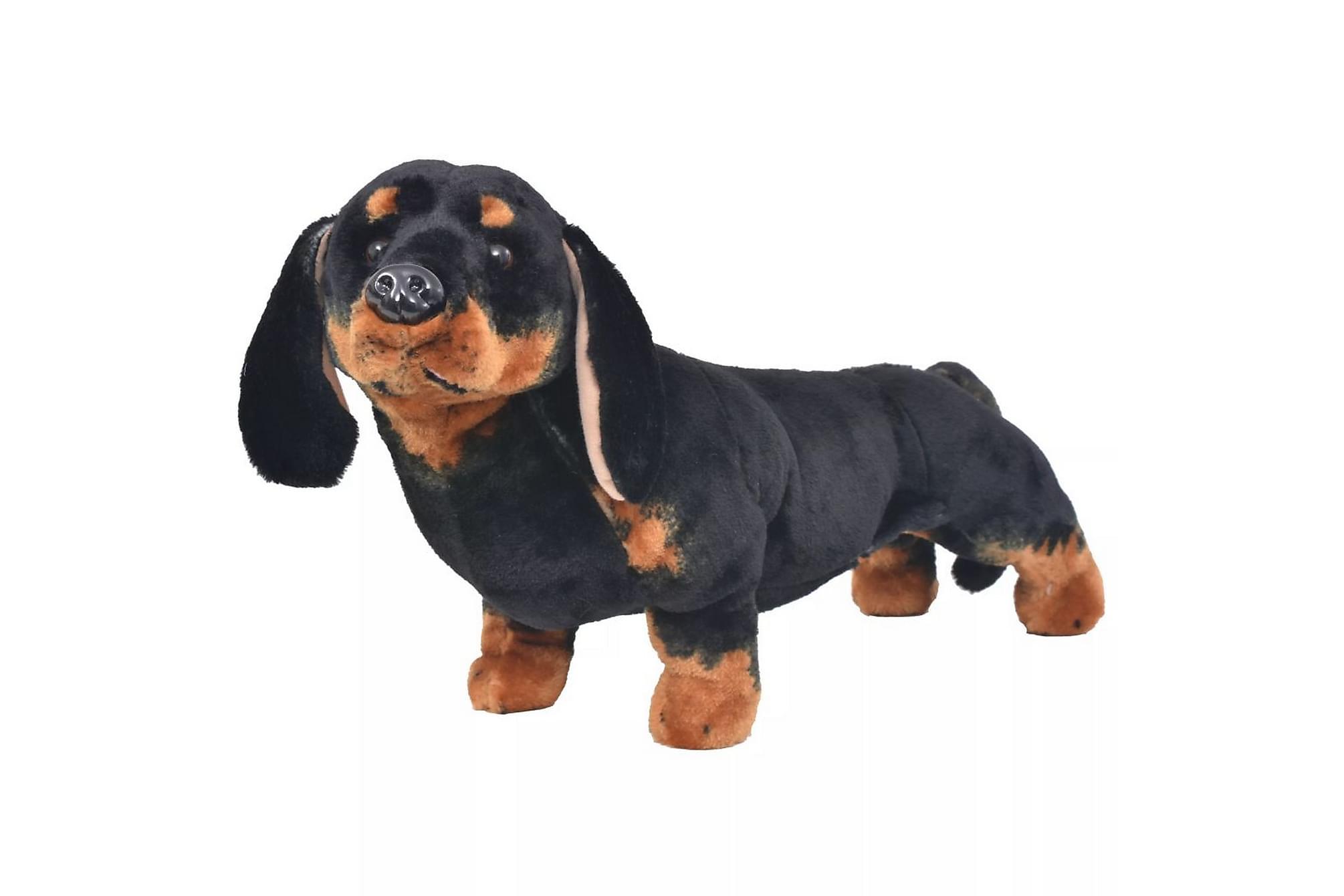 Stående leksakshund tax plysch svart XXL