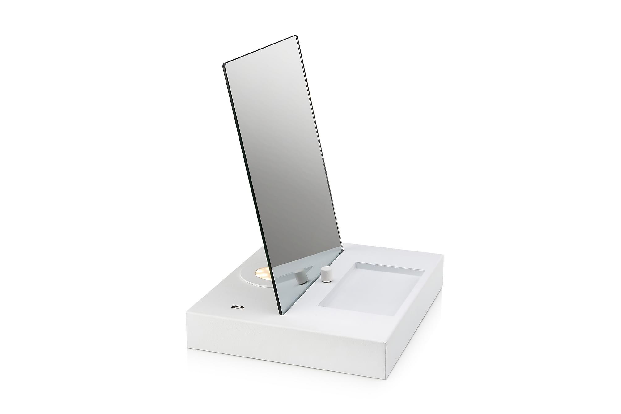 Reflect bordslampa usb spegel/svart