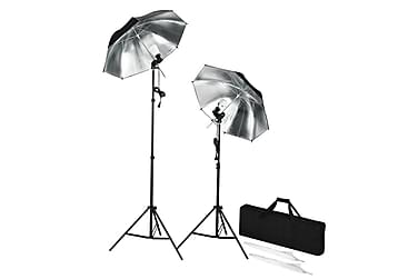 Bärbara studioblixtrar med stativ och paraplyer
