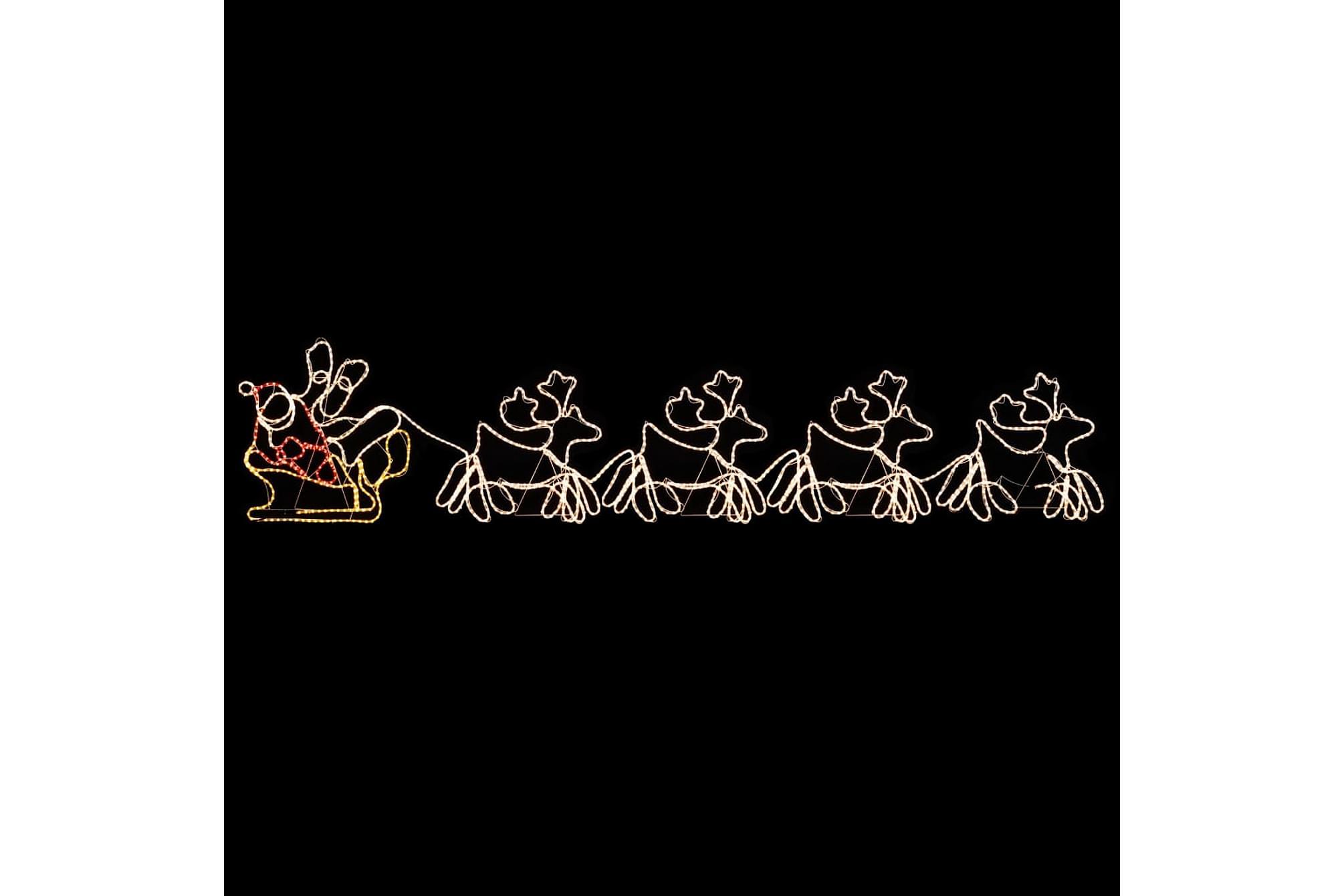 Julbelysning 4 renar och släde 500x10x80 cm