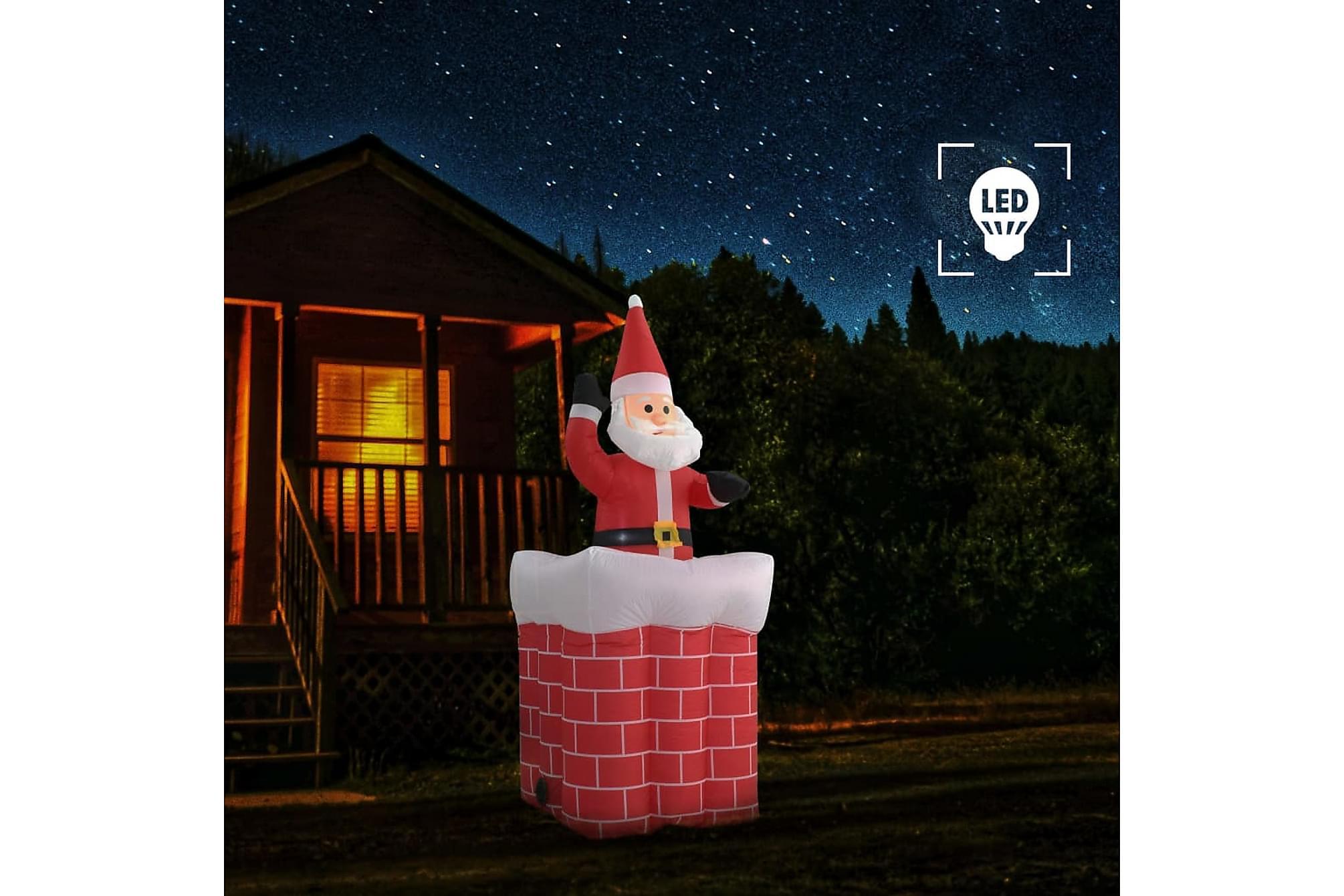 Jultomte i skorsten automatisk rörelse LED IP44 180 cm