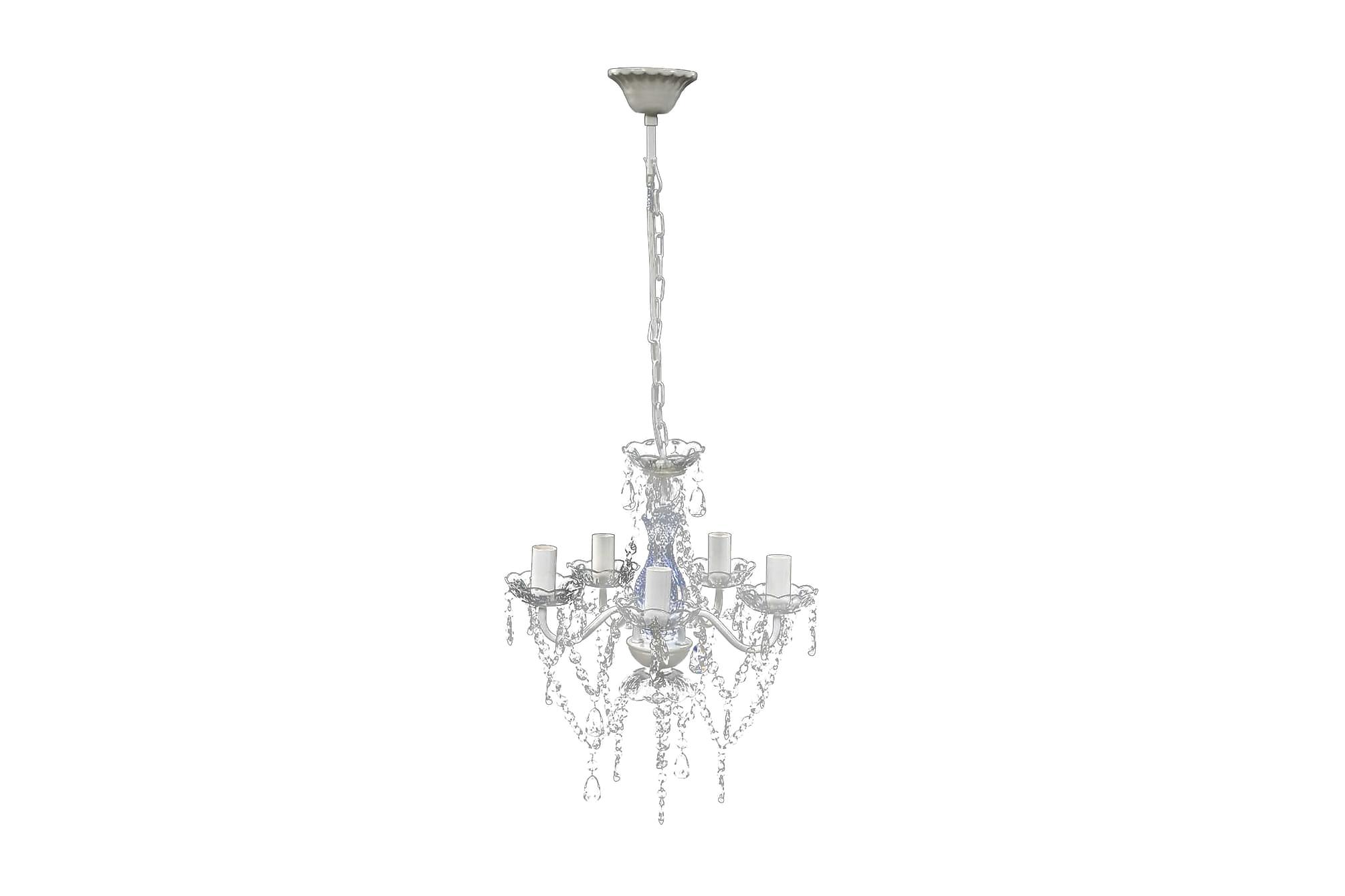Takkrona med kristaller 5 glödlampor genomskinlig, Lampor