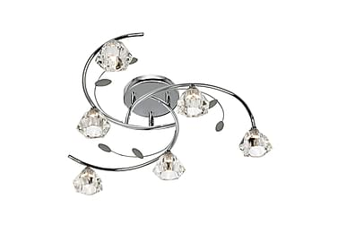 SIERRA Plafond 65 Dimbar 6 Lampor Krom/Klarglas