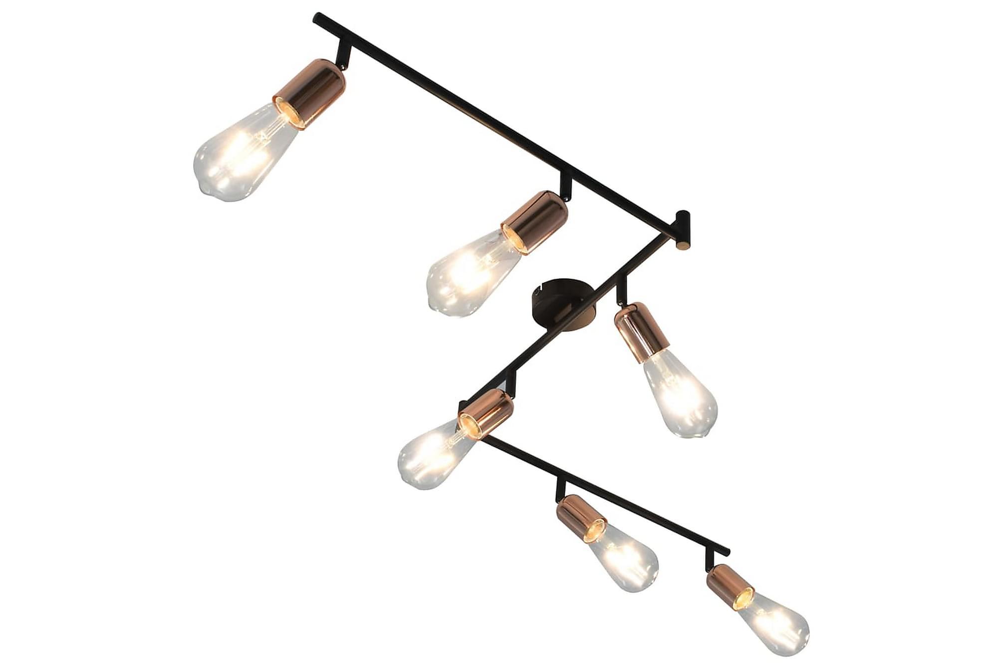 Spotlight med 6 glödlampor 2 W svart och koppar 30 cm E27, Taklampor