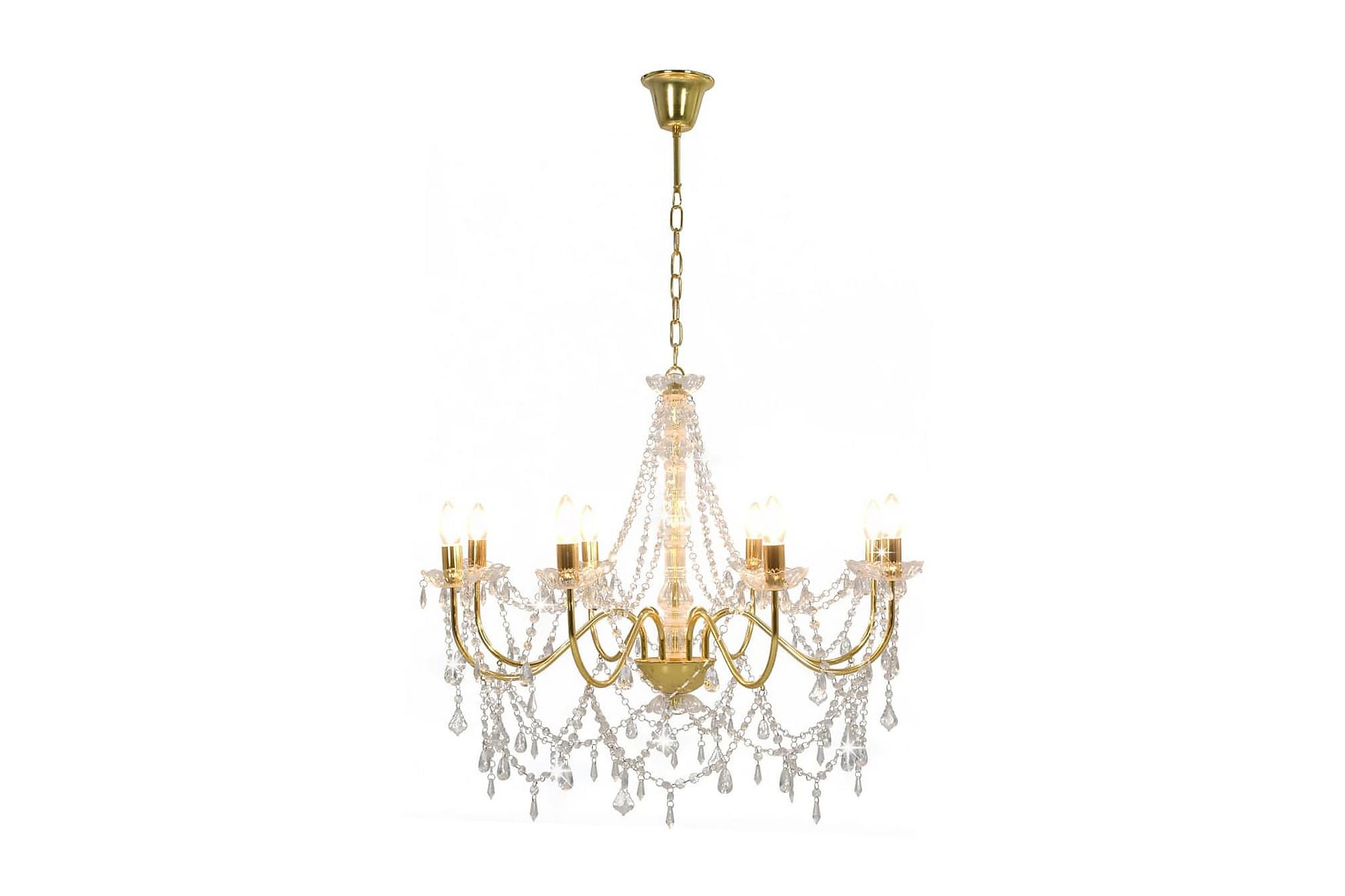 Takkrona med pärlor guld 8 x E14-glödlampor, Taklampor