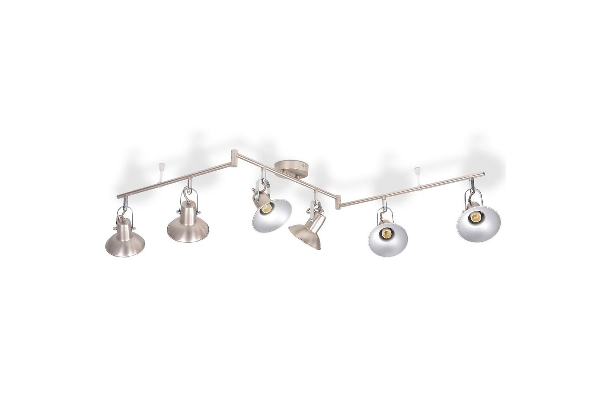 Taklampa för 6 glödlampor E14 silver, Taklampor