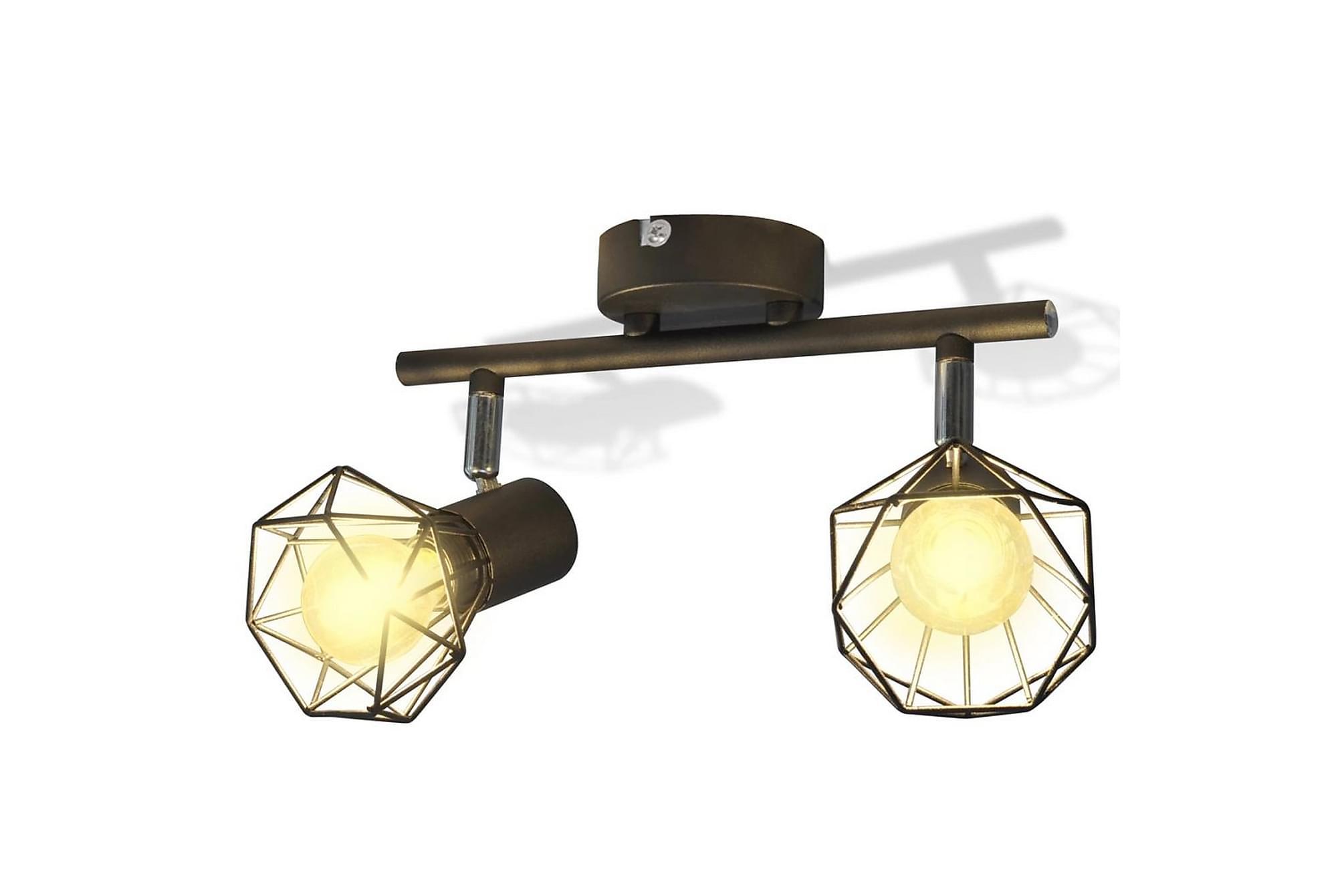 Taklampa industri-design spotlights m. 2 LED-glödlampor, Taklampor