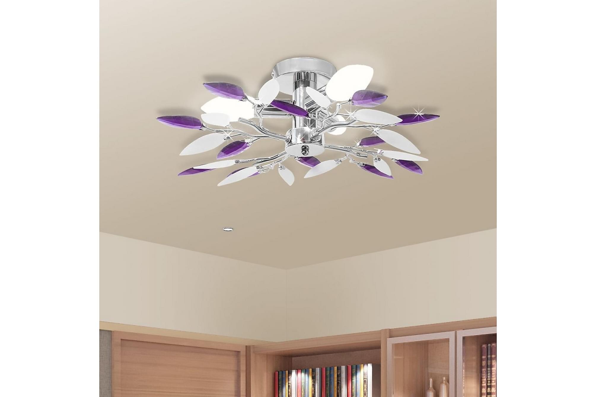 Taklampa med kristallöv i vitt & lila för 3 glödlampor E14, Taklampor