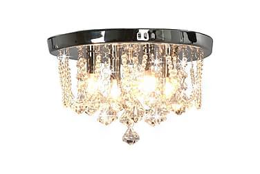 TAKLAMPA med kristallpärlor silver rund 4 x G9-lampor