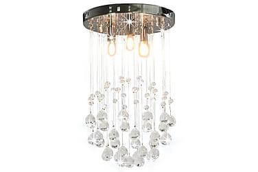 Taklampa med kristallpärlor silver sfär 3 x G9-lampor