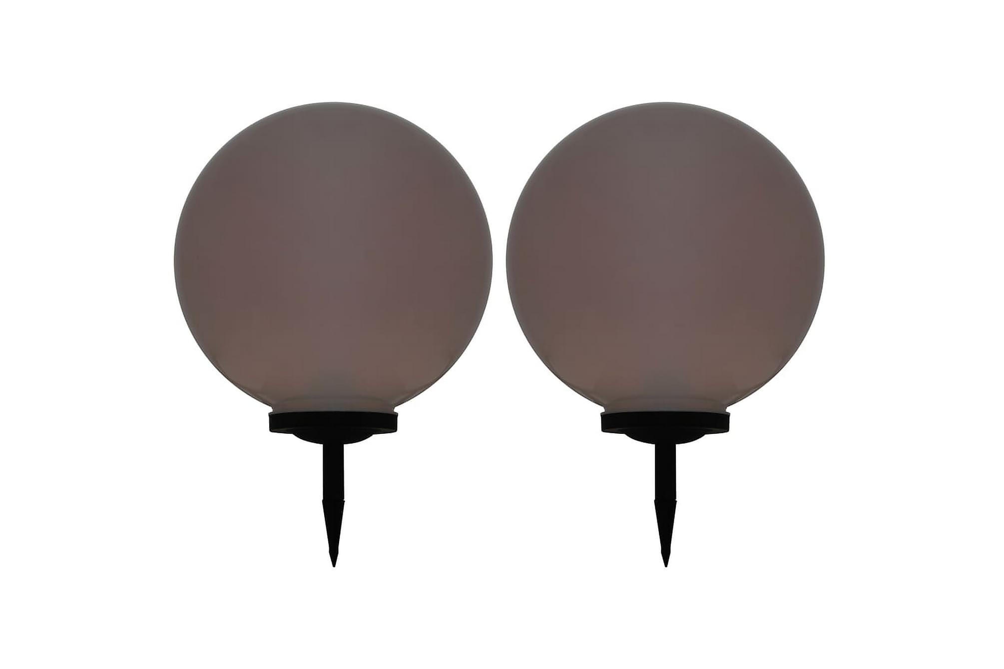Solcellslampor med LED 2 st sfäriska 50 cm RGB