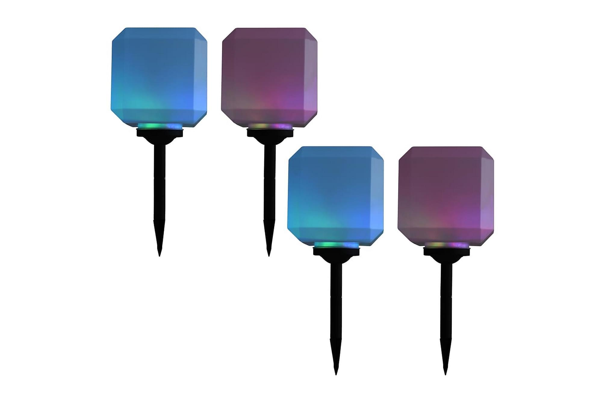 Solcellslampor med LED 4 st kubiska 20 cm RGB