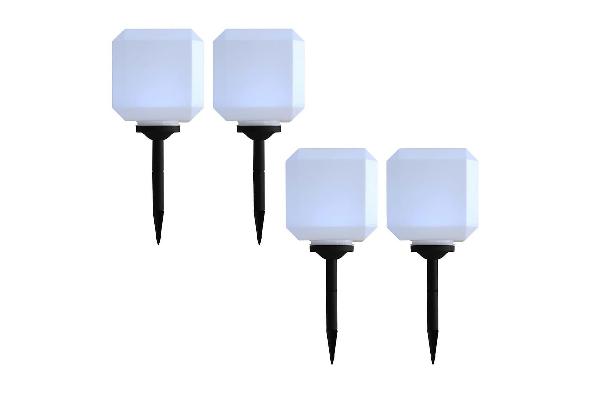 Solcellslampor med LED 4 st kubiska 20 cm vit