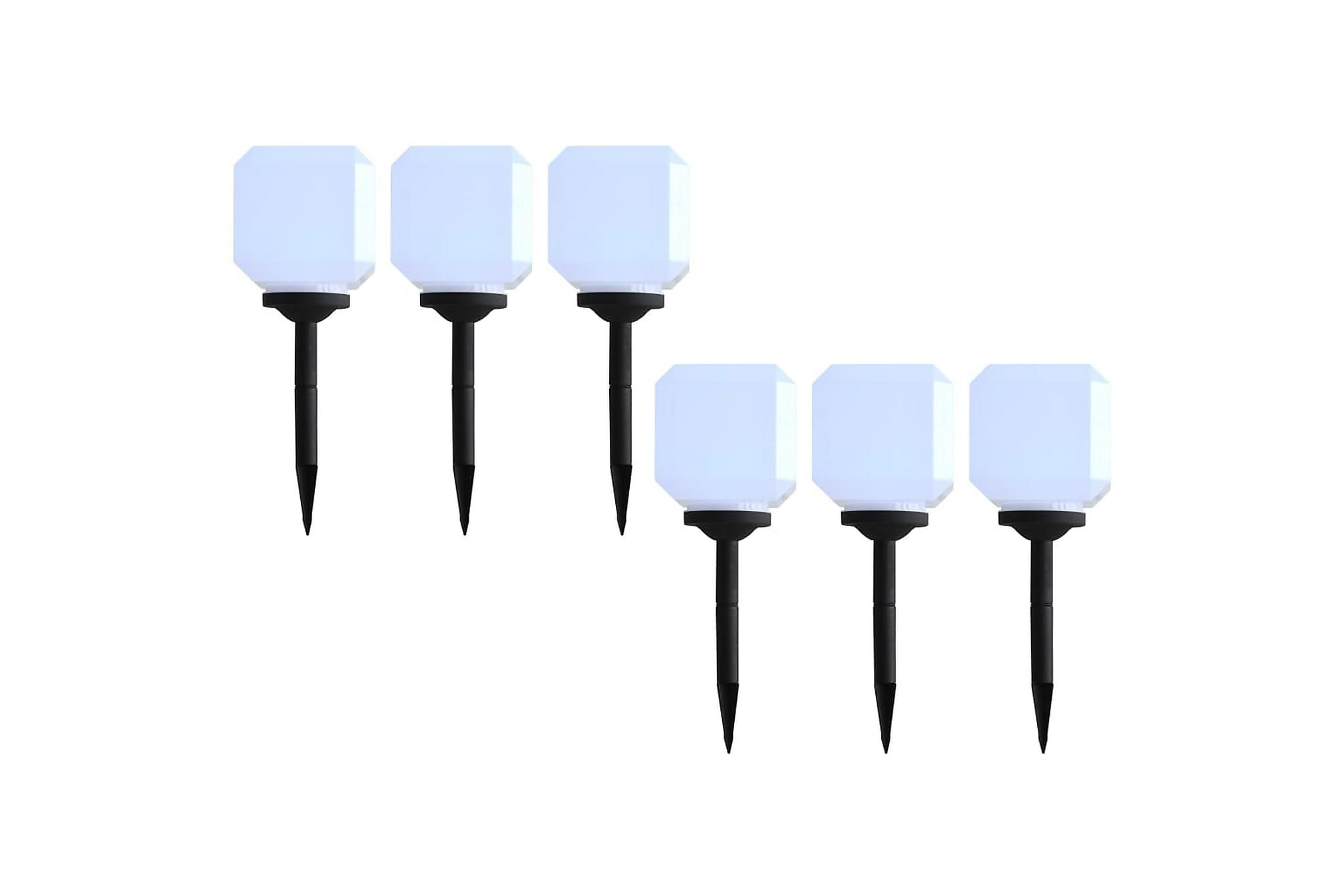 Solcellslampor med LED 6 st kubiska 20 cm vit