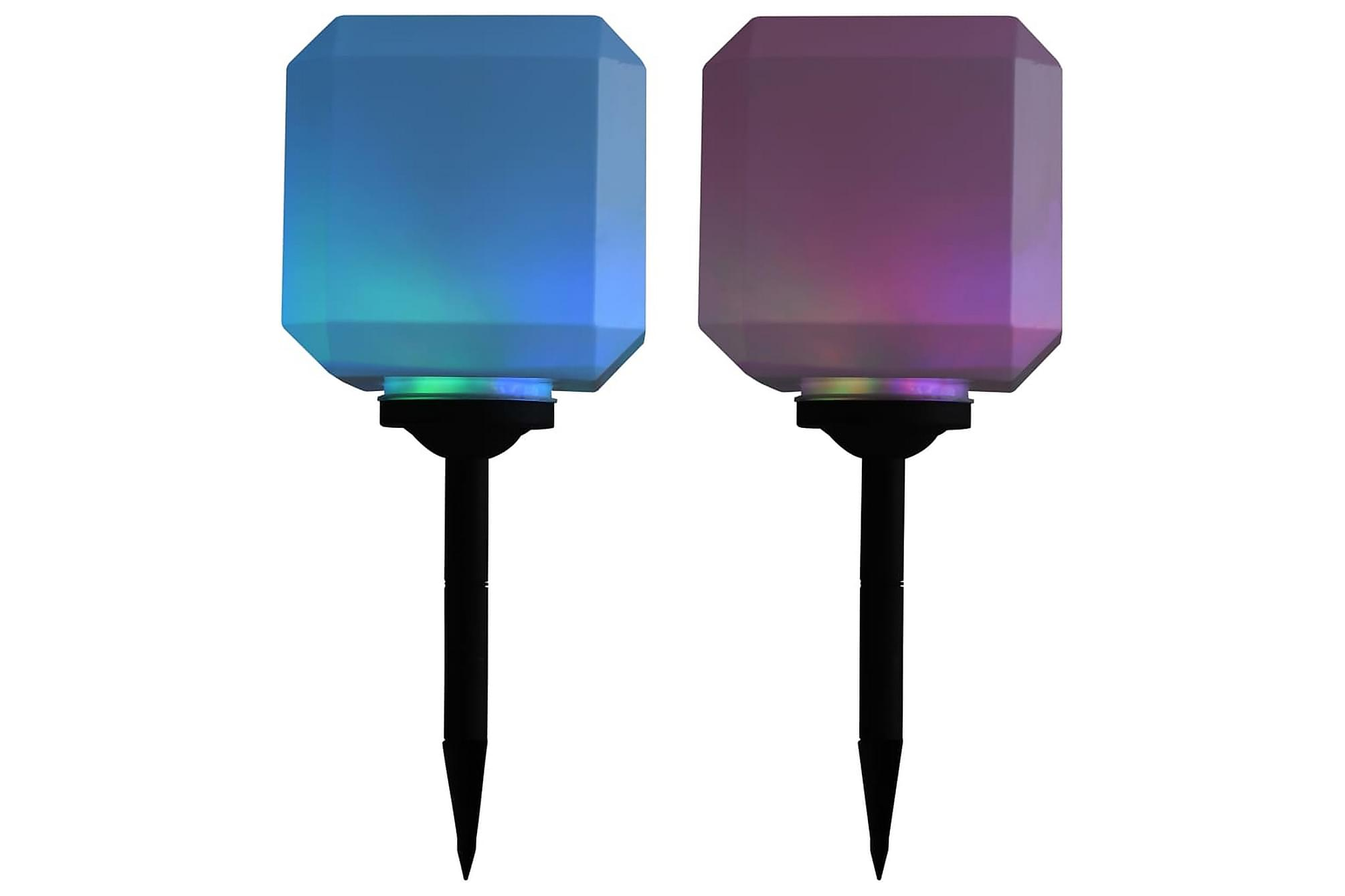 Sollampa LED set 2 st kubisk 20 cm RGB
