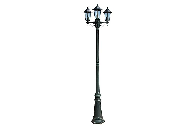 Trädgårdslampa 3 armar 215 cm mörkgrön/svart aluminium - Grön - Möbler & Inredning - Belysning - Utomhusbelysning