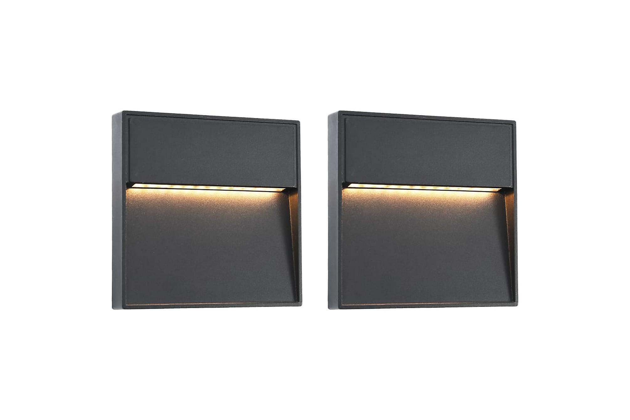 Utomhusvägglampa LED 2 st 3 W svart fyrkantig