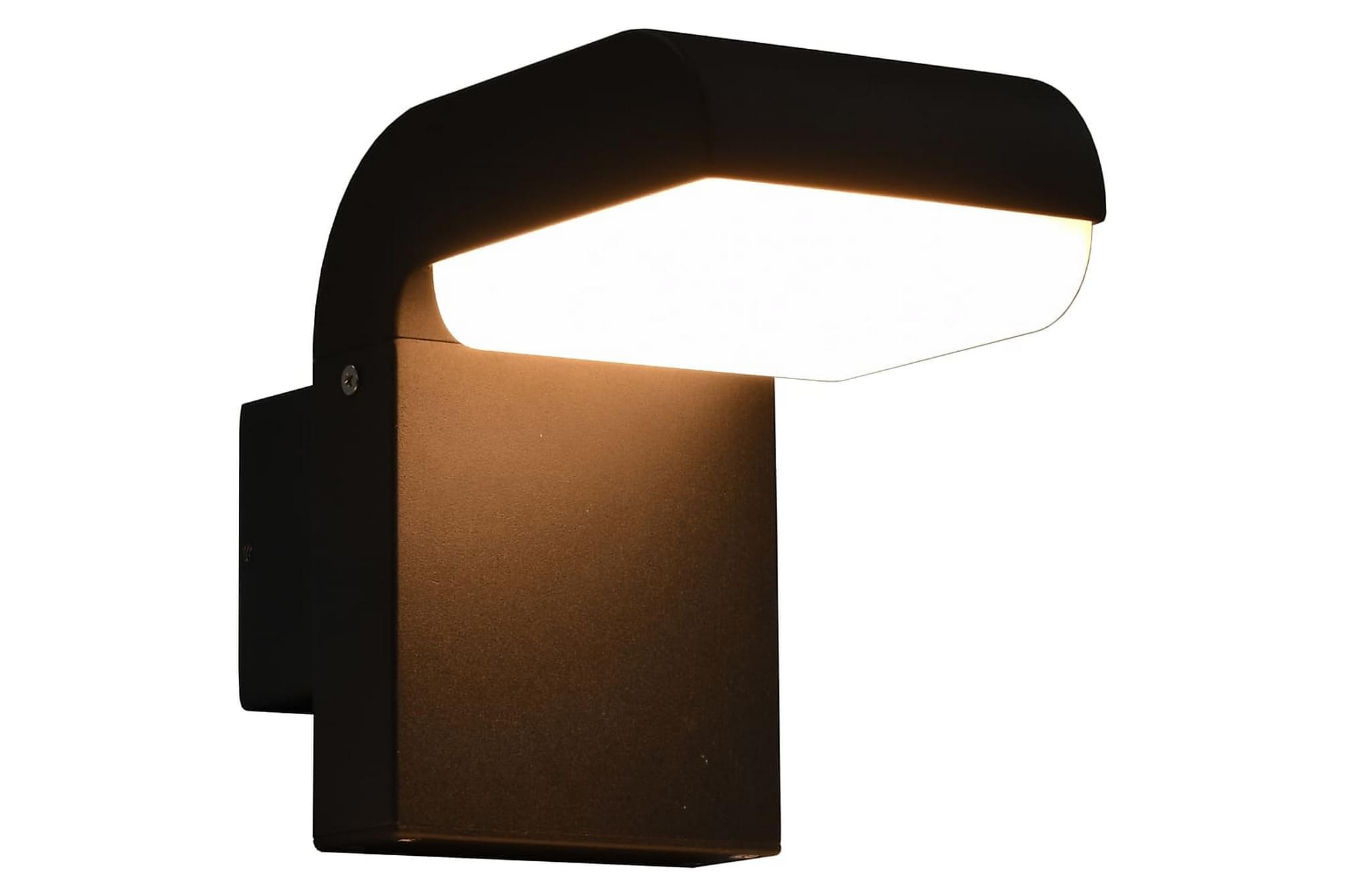 Utomhusvägglampa LED 9 W svart oval