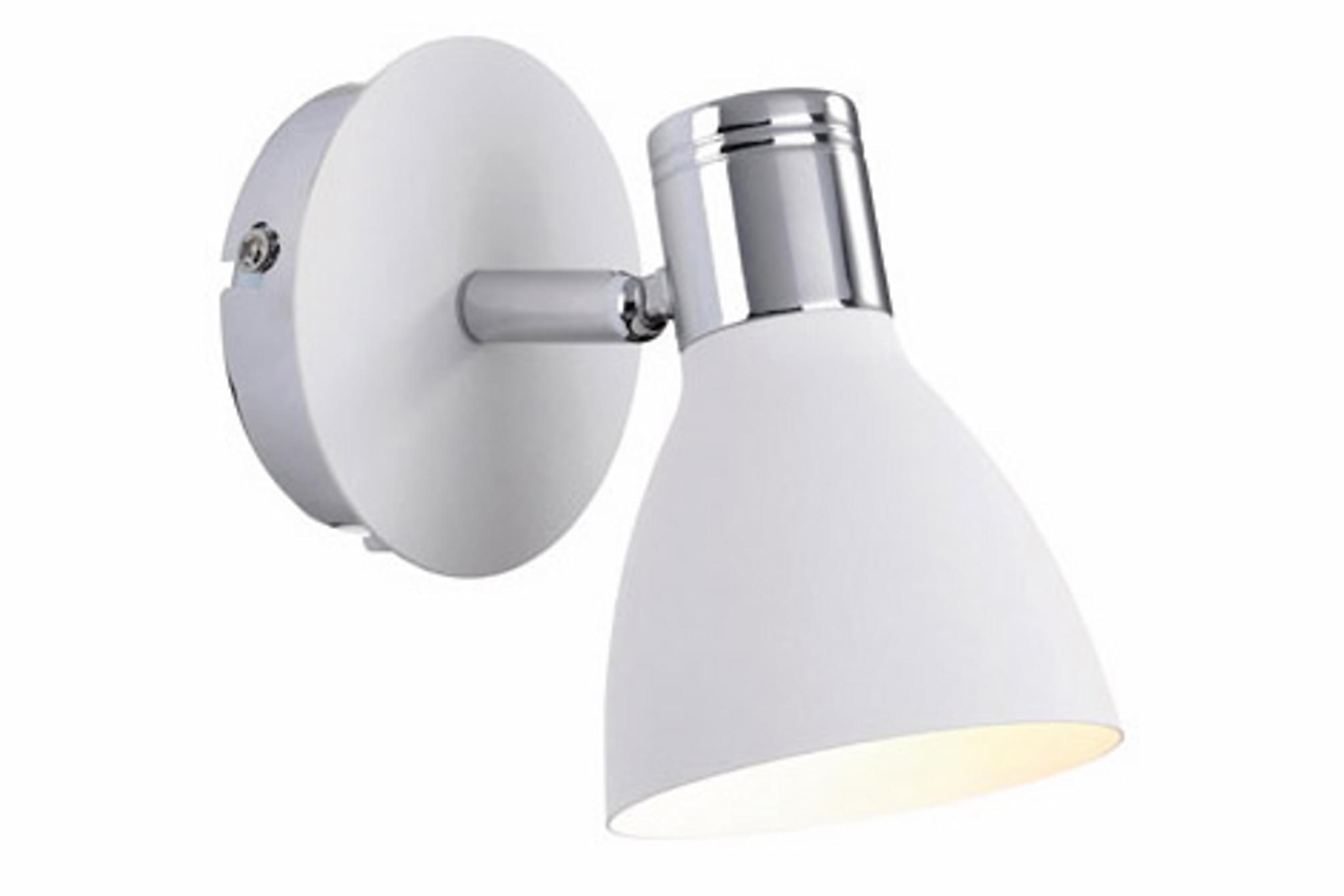 HUSEBY Vägglampa Krom/Vit
