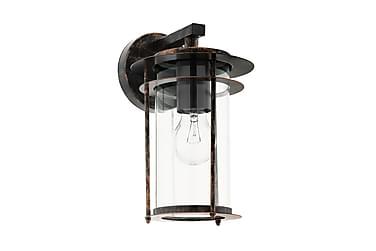 VALDEO Vägglampa Koppar/Antik/Klar/Glas