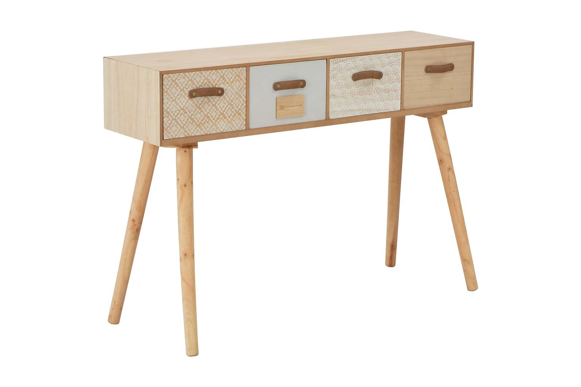 Konsolbord med 4 lådor 110x30x75 cm massiv furu