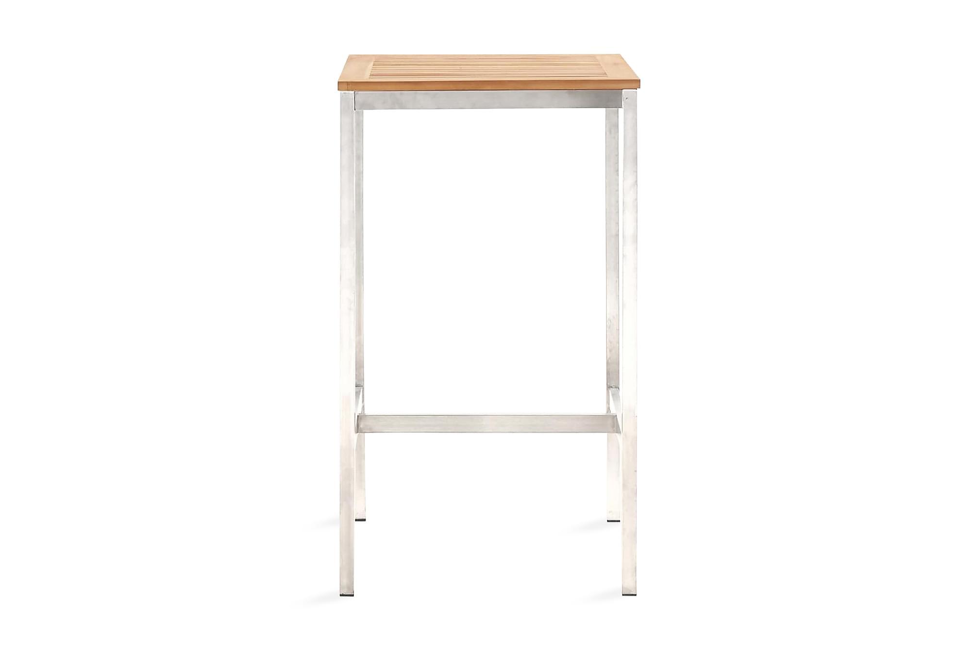 Barbord 60x60x105 cm massivt akaciaträ och rostfritt stål, Barbord