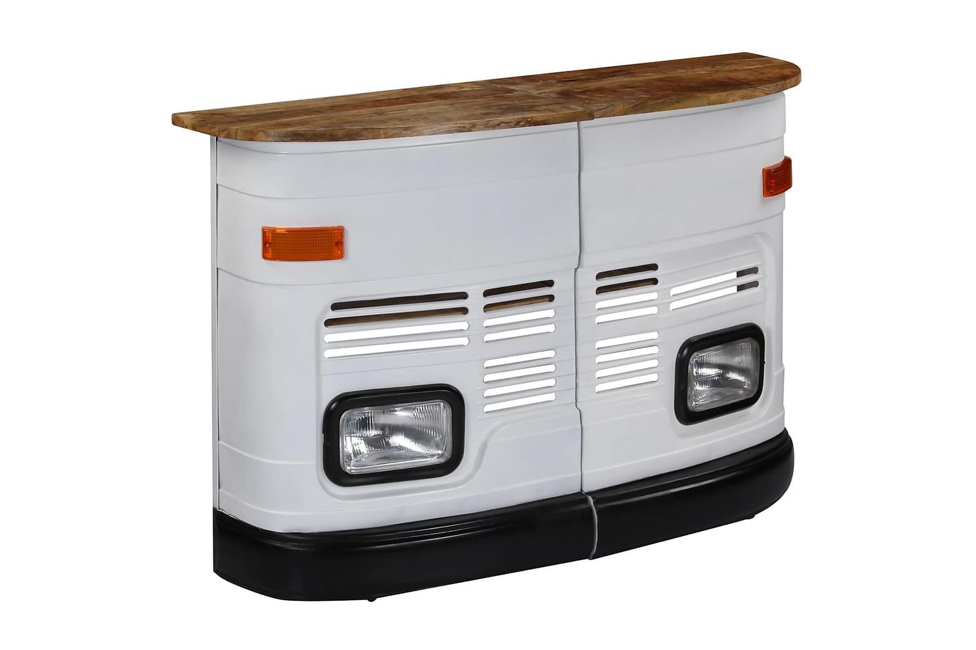 Barbord massivt mangoträ lastbil vit